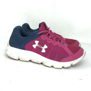Under Armor Girls Pink Blue Running Shoes Size 4 Y